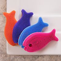 Silicone Bath Scrub Blue Fish